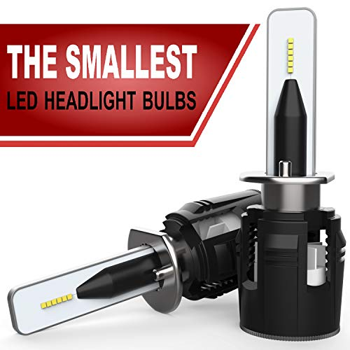 SUTU AUTO - H1 LED Headlight Bulbs - The Smallest LED Car Headlights - Extremely Bright: 10000 lumens - LED Conversion Kit - 6500K White LED Light - CHIP CSP - Low beam/high beam - w/Canbus/Decoder