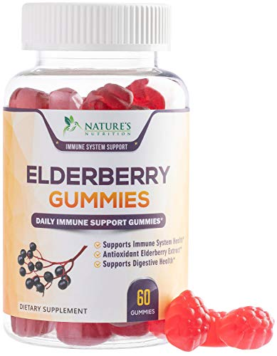 Elderberry Gummies Highest Potency Sambucus Gummy – Natural Immune System Support & Booster – Made in USA – Best Vegan Herbal Supplement with Vitamin C & Zinc for Children & Adults – 120 Gummies