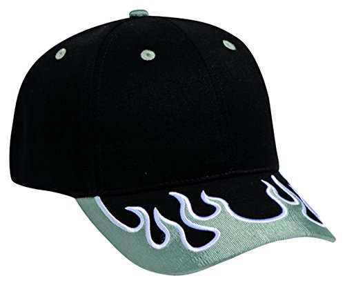 Flame Pattern Visor Brushed Cotton Twill Low Profile Pro Style Caps Pro Style Twill Visor