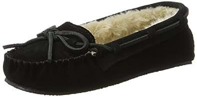 Minnetonka Women's Cally Slipper,Black,5 M US