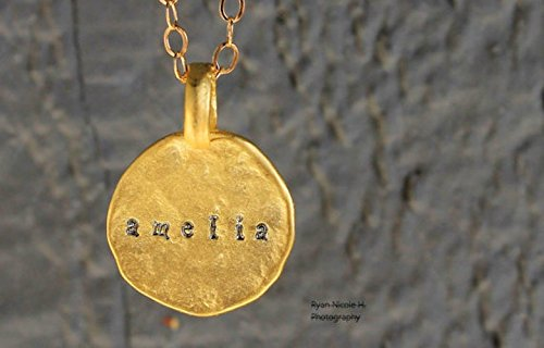 fdb4c326dea Image Unavailable. Image not available for. Color: Matte Gold Hammered  Personalized Disc • Layering Necklace ...