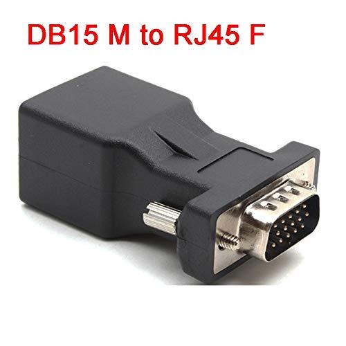 Davitu 15pin VGA Male to RJ45 Female Connector Card VGA RGB HDB Extender to LAN CAT5e CAT6 RJ45 Network Ethernet Cable Adapter ()
