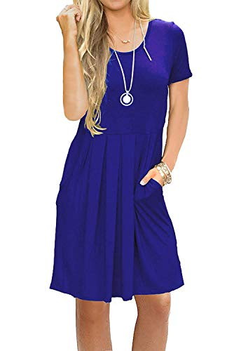 (AUSELILY Women's Short Sleeve Pleated Loose Swing Casual Dress with Pockets Knee Length (XS, 01A-Royal Blue))