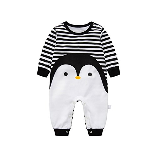 Luckyauction Baby Boys Girls Long Sleeve Stripe Penguin One-Piece Romper Blk/White,0-3M