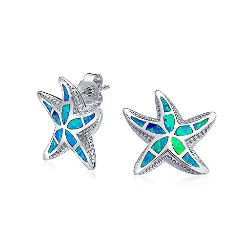 (Nautical Hawaiian Beach Starfish Blue Created Opal Inlay Starfish Stud Earrings For Women 925 Sterling Silver)