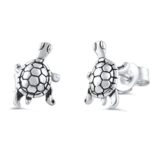 Sterling Silver Small Turtle Stud Earrings - 9mm