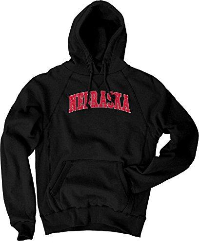 Nebraska College Applique - NCAA Nebraska Cornhuskers Men's Sanded Fleece Pullover Hoodie, Vintage/Faded Black, Large
