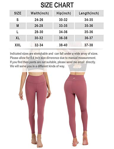 DOMODO High Waist Yoga Pants for Women,Tummy Control Workout Stretch Yoga Leggings Running Deep Pink