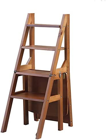 YXX-Taburete escalera Escalera de Madera para taburetes de 4 peldaños para Adultos, Silla con Barra Plegable para Interior/Escalera de Tijera/Estante de Almacenamiento, Capacidad de 264 LB: Amazon.es: Electrónica