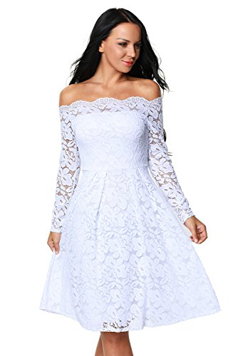 Eastylish Elegant Womens Sexy Off Shoulder Lace Casual Cocktail Wedding Party Dress …