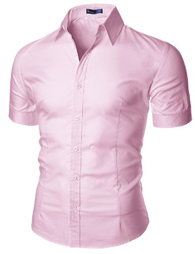 (Doublju Mens Unique Button Down Regular Fit Short Sleeve Dress Shirt Pink,(US M))