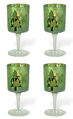Christmas Tree Votive Holder - Celebrate the Home Christmas Stemmed Votive Candle Holder, Small, Green Christmas Tree, 4-Count