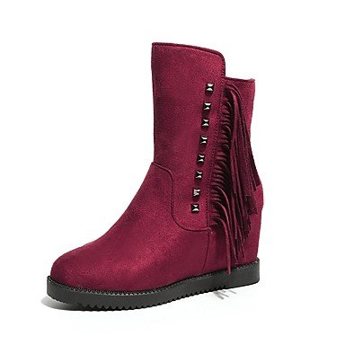 Toe 5 US8 For Wine Fashion RTRY Evening Boots EU39 amp;Amp; UK6 Boots Women'S Black Shoes CN40 Party Casual Winter 5 Round Pu Wedge Heel UxwvpwBqC