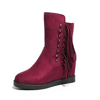RTRY Zapatos de mujer Moda Invierno Pu botas botas talón de cuña Round Toe para fiesta informal &Amp; noche vino negro US8.5 / EU39 / UK6.5 / CN40