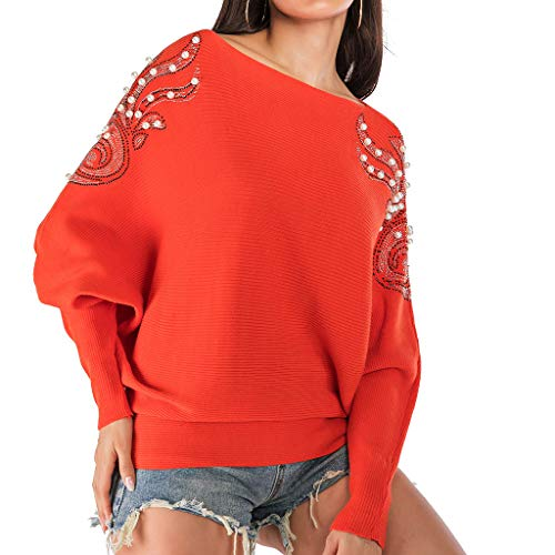 ANJUNIE Women Long Loose Knitted Shirt Skew Neck Sweatshirt Long Sleeve Nail Beading Sweater Top Pullover(Orange,M)
