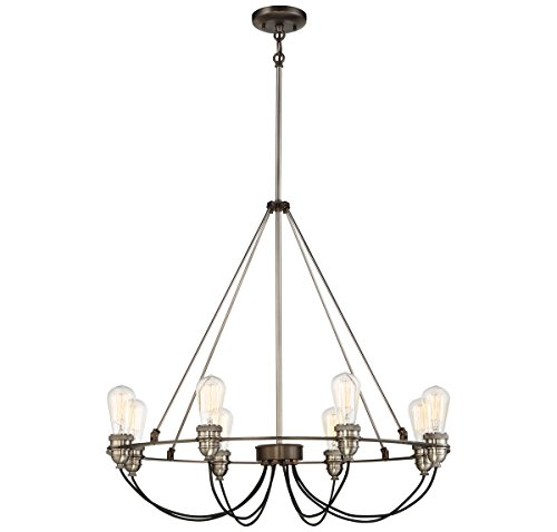 Minka Lavery 4458-784 Minka Restoration Eight Light Chandelier from Uptown Edison Collection in Bronze/Darkfinish, 30.00 Inches 30.00 Incheseight - Bellacor Metal Chandelier