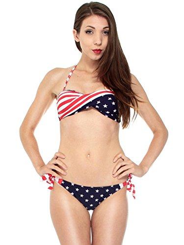 - AshopZ Two-Piece USA Flag Bikini Stars Stripes Padded Swimwear Swimsuit, S
