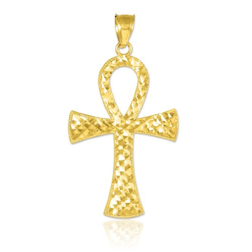 - 10k Yellow Gold Egyptian Ankh Cross Gold Pendant