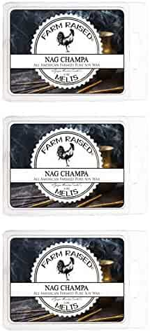 Nag Champa 3 Pack Premium Scented Soy Wax Melts 100% Natural All American Farmed Soy Wax. 18 Cubes 9 Ounces, Smokeless Candles, Vegan Friendly