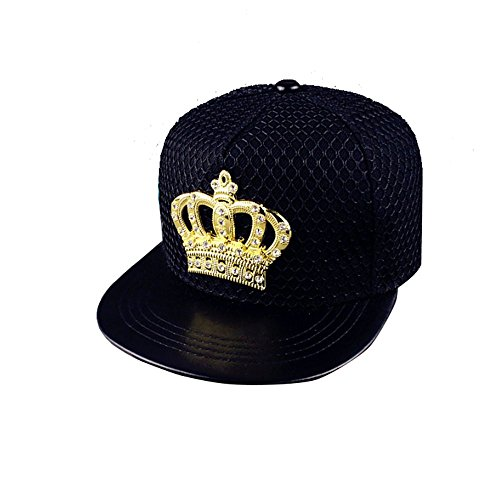 BestWare Fashion Snapback Baseball Cap Crown Net Cap Flat Sport Hat Cap For Women Men Black