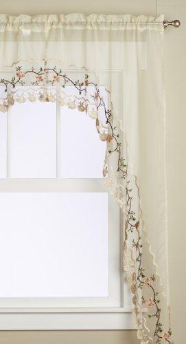 Editex Home Textiles Rose Garden 2-Piece Swagger Set, 60 by 84-Inch, Ecru/Ecru
