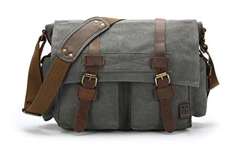 sulandy @ nuevo estilo Vintage lienzo grande Unisex Messenger bolso bandolera de piel Trim escuela Militar bolsa de hombro bolso bandolera, army green 44, large grey(medium)