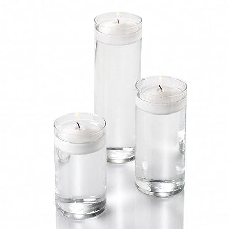 Set Of 36 Eastland Cylinder Vases And 36 White Richland Floating