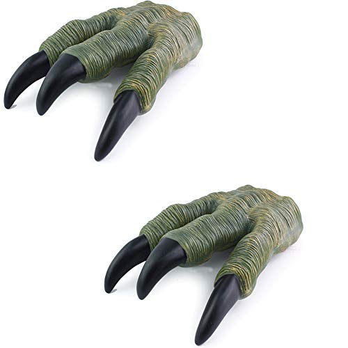 Kids Dinosaur Claws Gloves Realistic Toy Halloween Cosplay Gloves for Boys Girls 1 Pair Green ()