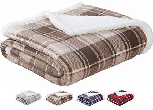 (Sedona House Sherpa Flannel Throw Blanket | 280GSM Luxury Flannel Fleece Super Warm Soft Velvet Plaid Pattern Checkered Throw Blanket| Warm Cozy Lightweight | 50 x 60 Inches Plaid Coffe)