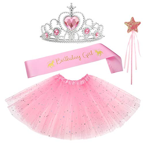 Birthday Gifts for Girls Layered Sequins Tutu Skirt Fairy Wand Unicorn Birthday Sash Princess Tiara Dress up 4 PCs Party Favors Girl Birthday Costume Pink