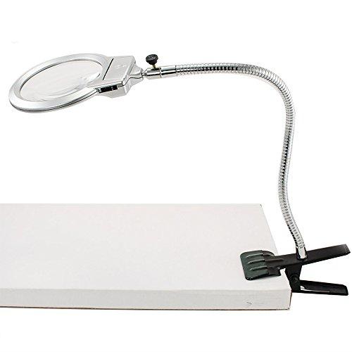 iMeshbean 2.25X 5X Led Magnifier Gooseneck Clip-on Table Light, Magnifying Led Working Reading Clamp Lamp USA (Gooseneck Magnifier)