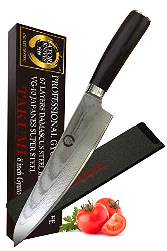 Koto Satori 8 Inch Professional Gyutou Chef's Knife - 67 Layers Damascus Blade, True Japanese VG-10 Stainless Steel Chef Knife With Ergonomic Handle, Full Tang, ABS Knife Sheath And Premium Packaging