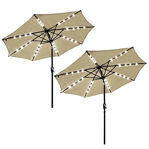 Yescom 9 Outdoor Solar Powered LED Umbrella 8 Ribs w 32 Lights for Patio Garden Deck Crank Tilt UV30 Beige Pack of 2