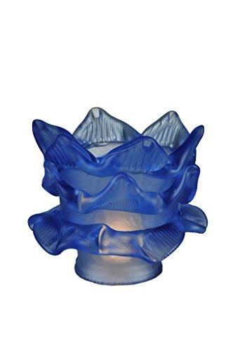 Blue Tier Glass Theme VICTORIAN FLORAL ART GLASS STICKLEY by Meyda
