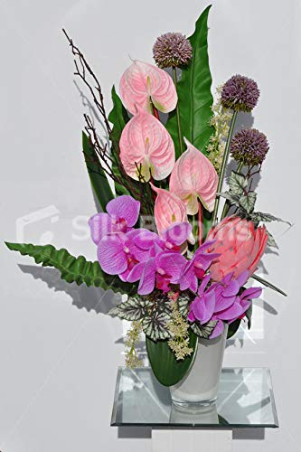 Silk-Blooms-Ltd-Artificial-Fresh-Touch-Pink-Orchid-and-Anthurium-Vase-Arrangement-wAlliums-and-Wood