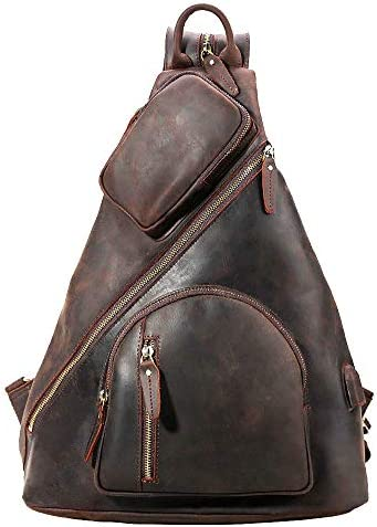 Tiding Men's Leather Crossbody Sling Bag Casual Shoulder Daypack