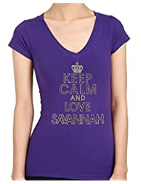 Keep Calm and Love SAVANNAH Rhinestone/stud Womens T-Shirts