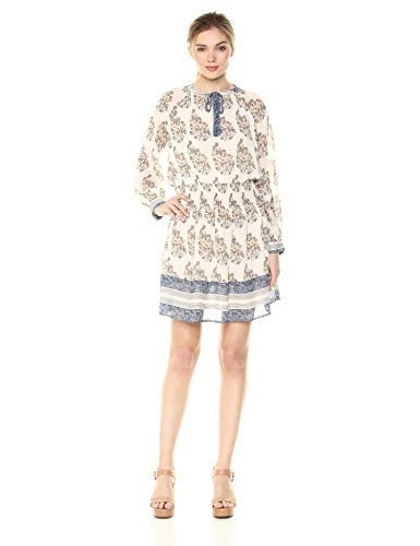 (Lucky Brand Women's Drop Waist Printed Dress in Natural Multi, L)