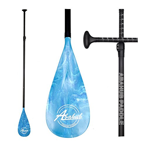 ABAHUB 3-Piece Adjustable Stand Up Paddle For Paddleboard Carbon Shaft Blue Print Plastic Blade + Bag by ABAHUB