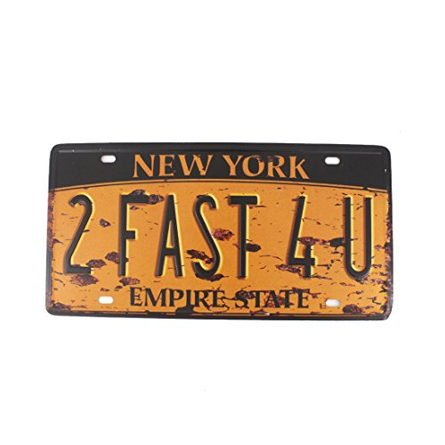 (6x12 Inches Vintage Feel Rustic Home,bathroom and Bar Wall Decor Car Vehicle License Plate Souvenir Metal Tin Sign Plaque (NEW YORK EMPIRE STATE))