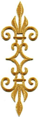 Gold trim fleur de lis fringe boho retro sew sewing embellishment embroidered applique iron-on patch new ()