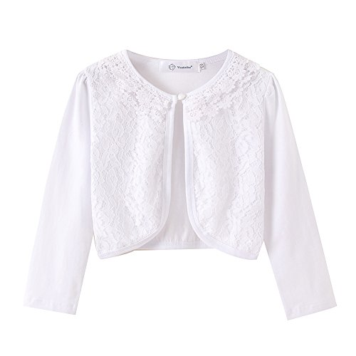 ZHUANNIAN Little Girls' Long Sleeve Lace Bolero Cardigan Shrug(3-4T,White) by ZHUANNIAN