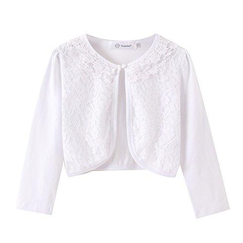 ZHUANNIAN Little Girls' Long Sleeve Lace Bolero Cardigan Shrug(7-8,White) by ZHUANNIAN