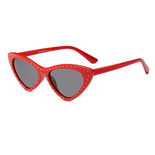Eye Frame Cat Sunglasses Vintage Sun Rojo Triangle Small Inlefen Glasses Gris style Mujeres Todo Mod x8wFnBaqT