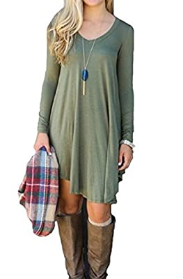 MIJOYEE Fashion Sexy Trim Comfortable Long Sleeve Casual Loose V-Neck T-Shirt Dress for Women