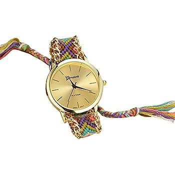 Soulvin Women Geneva Tribal Charm Watch Handmade Colorful Weave Wrist Bracelet Watch Purple