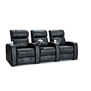 Palliser westley leather home theater seating power recline row of 3 black Home theater furniture amazon