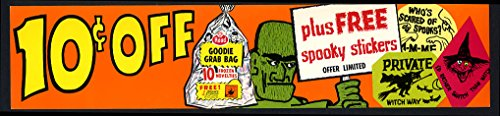 Hood Ice Cream 10c Off Halloween Goodie Grab Bag Spooky Stickers sign 1950s -