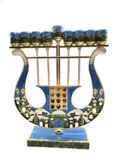 (Ayuni Gifts of the World Harp Shaped Chanukah Menorah Enamel Hand Painted Enamel on Pewter with Swarovski Crystals (Turquoise) )