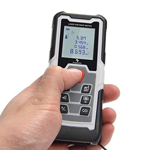 Distance Laser Measure, Prostormer 131ft 40m Digital Range Finder with Pythagorean Mode and LCD Backlit, Handhold Measuring Device for Distance, Area and Volume (131FT)